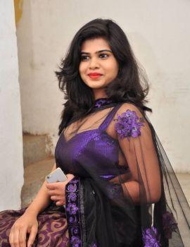 Alekhya Angel Stills in Transparent Saree