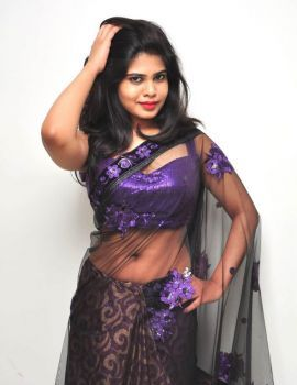 Alekhya Angel Stills in Transparent Saree