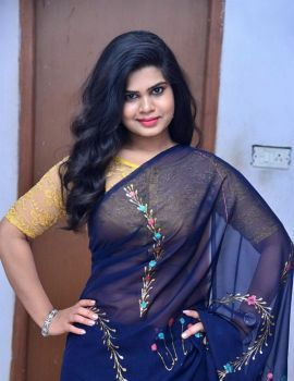 Alekhya Kondapalli in Blue Saree at Samajaniki Hecharika Movie Opening