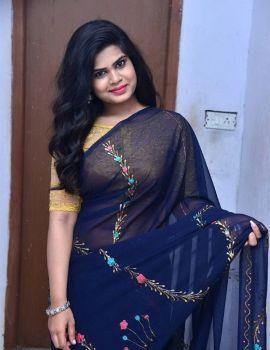 Alekhya Kondapalli in Blue Saree at Samajaniki Hecharika Movie Opening