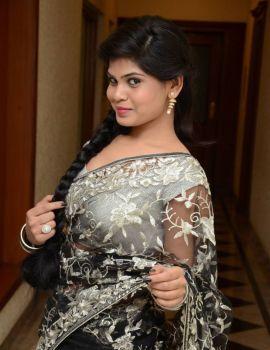 Alekhya Transparent Saree Stills at Kai Raja Kai Movie Audio Launch