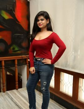 Telugu Actress Alekhya Stills in Red Dress at Elite New Year Eve 2019 Ticket Launch
