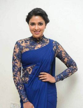 Amala Paul in Blue Dress at Pasanga 2 Telugu Movie Audio Launch
