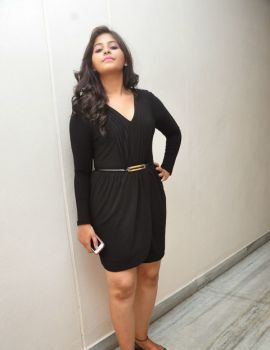 Anjali in Black Dress at Geethanjali Movie Press Meet