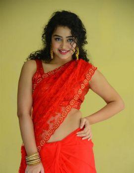 Telugu Actress Anketa Maharana in Red Saree Stills at Ullala Ullala Movie Interview