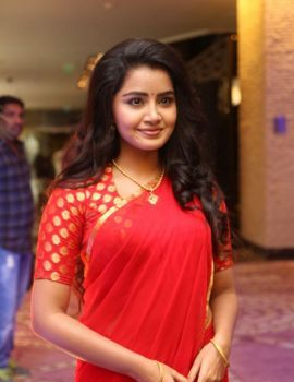Anupama Parameswaran in Red Saree at Sathamanam Bhavati Success Meet