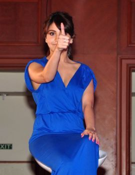 Anushka Sharma in Blue Backless Dress at Nivea Flaunt Launch