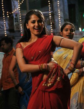 Anushka Hot Red Saree Stills from Vaanam Movie Item Song