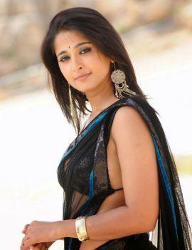 Anushka Shetty in Black transparent Saree