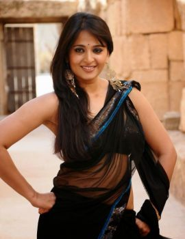 Anushka Shetty in Black transparent Saree