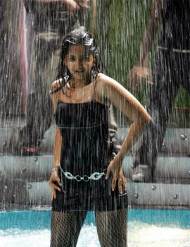 Anushka Shetty Rain Dance in Black Dress