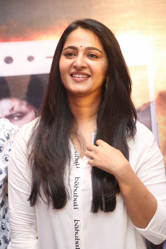 Beautiful Telugu Actress Anushka at Baahubali 2 Release Date Press Meet