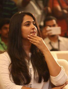 Beautiful Telugu Actress Anushka at Baahubali 2 Release Date Press Meet