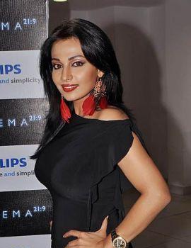 Telugu Actress Asha Saini in Black dress at Philips 3D Led Full HD TV Launch on Hyderabad