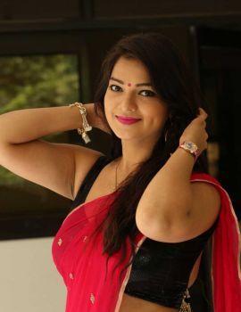Ashwini in Red Saree at Hora Hori Platinum Disc Function