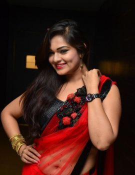 Ashwini Red Saree Stills at Kotikokkadu Audio Launch