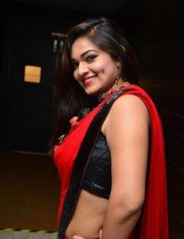 Ashwini Red Saree Stills at Kotikokkadu Audio Launch