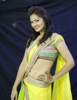 Telugu Actress Ashwini in Yellow Saree