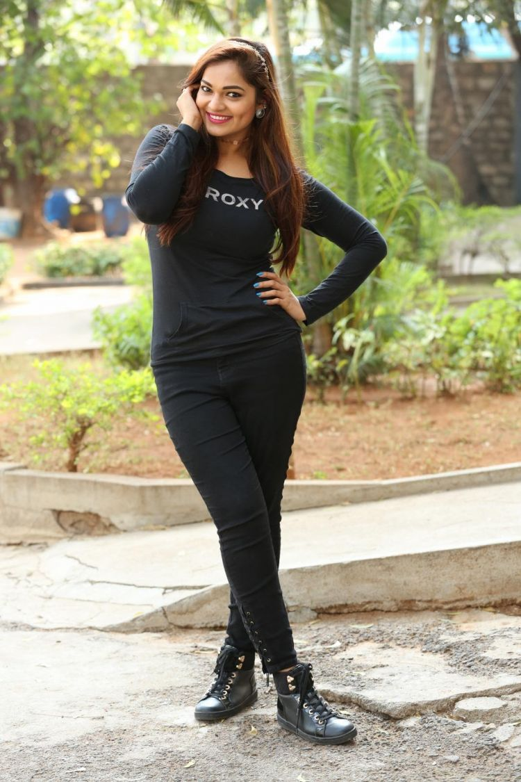 Telugu Actress Ashwini Latest Pictures in Black Dress