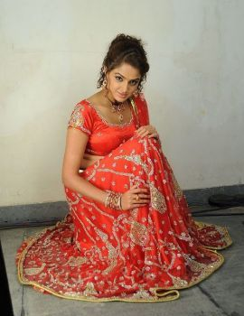 Asmita Sood Hot Navel Stills in Red Dress