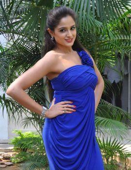Asmita Sood in Blue Dress at Aadu Magaadra Bujji Platinum Disc Function