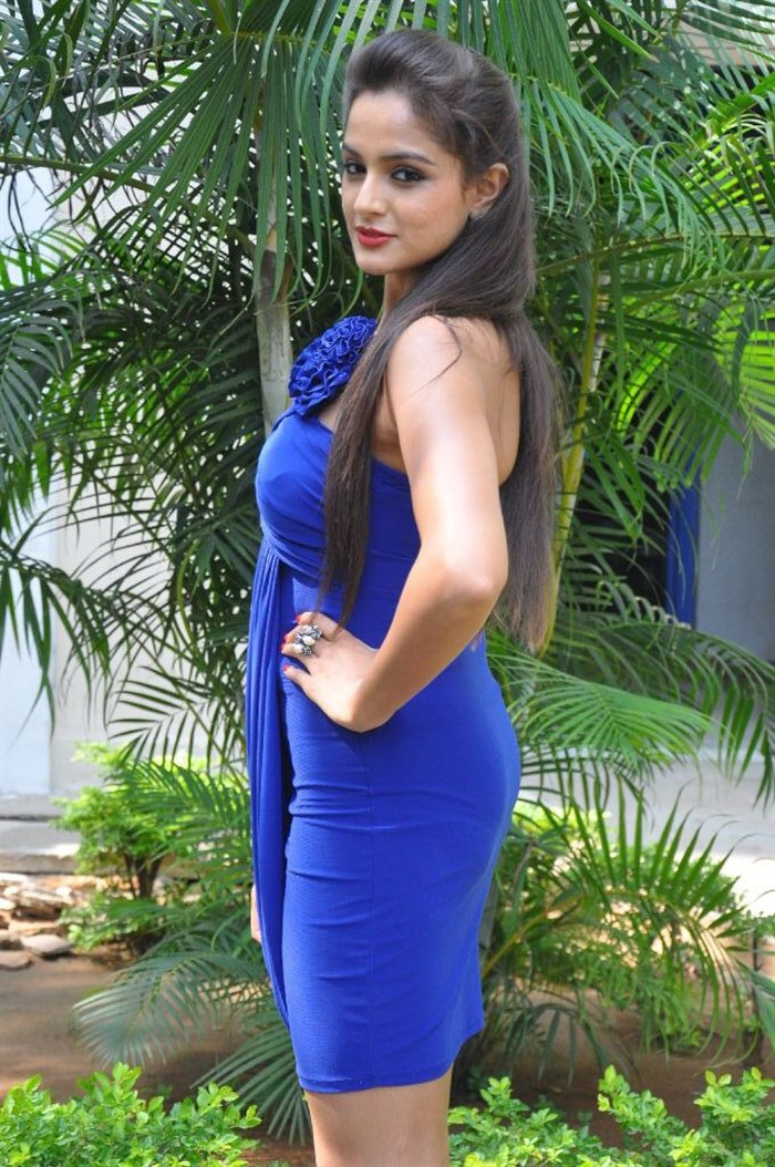 Asmita Sood in Blue Dress at Aadu Magaadra Bujji Platinum Disc Function