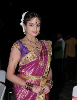 Asmita Sood Saree Stills at Aadu Magadura Bujji Logo Launch