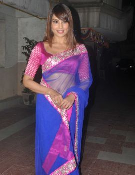Bollywood Actress Bipasha Basu in Blue Saree at Diwali Celebrations