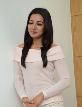 Catherine Tresa Stills in White Dress at Sarrainodu Interview
