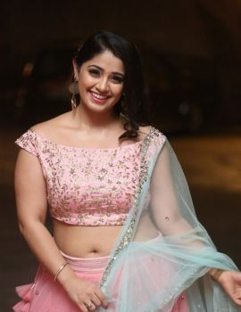 Chandni Bhagwanani Stills in Pink Lehenga at VB Entertainments Vendithera Awards