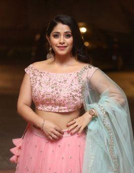 Chandni Bhagwanani Stills in Pink Lehenga at VB Entertainments Vendithera Awards