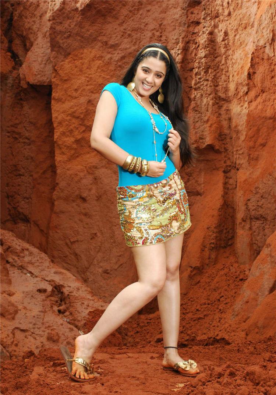 Telugu Actress Charmi Showing Her Thunder Thighs