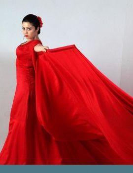 Telugu Heroine Charmi Stills in Long Red Dress