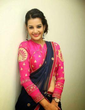 Diksha Panth in Saree at Kavvintha Audio Launch