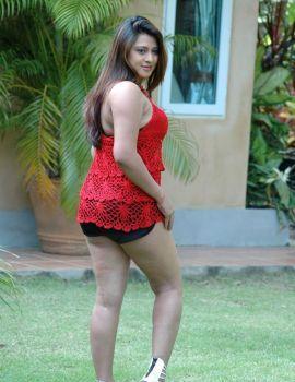 South Indian Glamor Actress Farah Khan in Red Dress