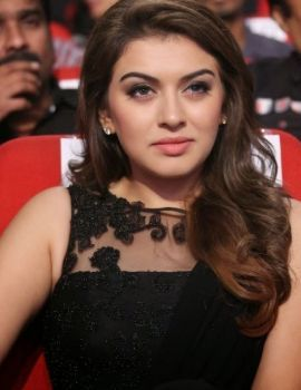 Actress Hansika Motwani in Black Dress at Power Movie Audio Launch