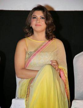 Hansika Motwani in Yellow Saree at Ambala Movie Audio Launch