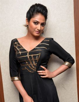 Haripriya Stills in Black Dress at Bharjari Movie Press Meet