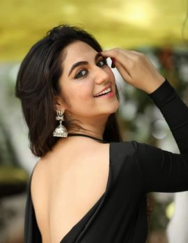 Harshitha Panwar Showing Bare Back in Black Dress