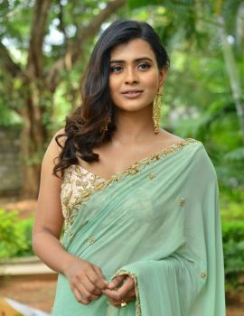 Hebah Patel Saree Stills at 24 Kisses Movie Press Meet