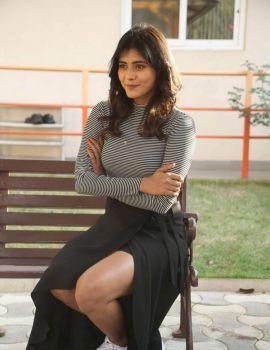 Hebah Patel Stills at Manyam Puli Movie Press Meet