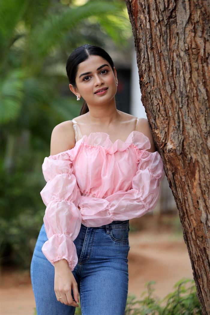 Telugu Actress Hemal Ingle Stills at Power Play Movie Success Meet