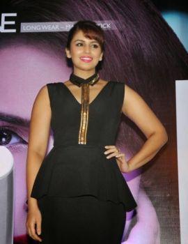 Huma Qureshi in Black Dress at Launch Oriflame's New Range Of Lipsticks