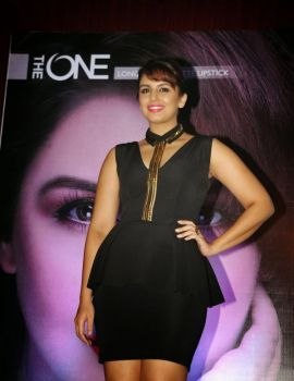Huma Qureshi in Black Dress at Launch Oriflame's New Range Of Lipsticks