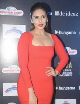 Huma Qureshi in Red Dress at SIIMA 2016 Press Meet
