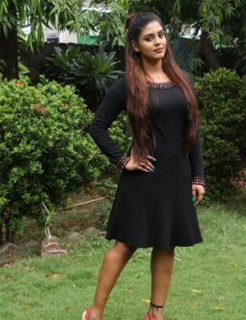 Tamil Actress Ineya in Black Dress Stills at Pottu Movie Press Meet