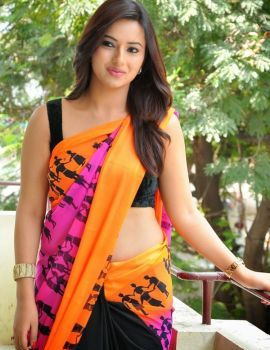 Isha Chawla Stills in Saree at Jump Jilani Press Meet