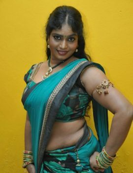 Telugu Actress Jayavani in Saree at Minugurulu Movie Audio Launch