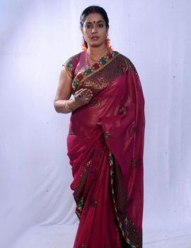 Telugu Actress Jayavani Photoshoot Stills in Saree