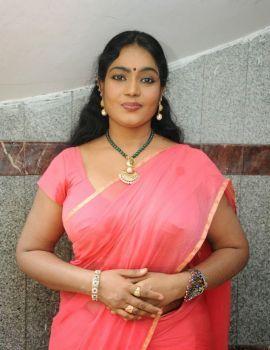 Telugu Actress Jayavani Saree Stills at Raj Mahal Movie Launch